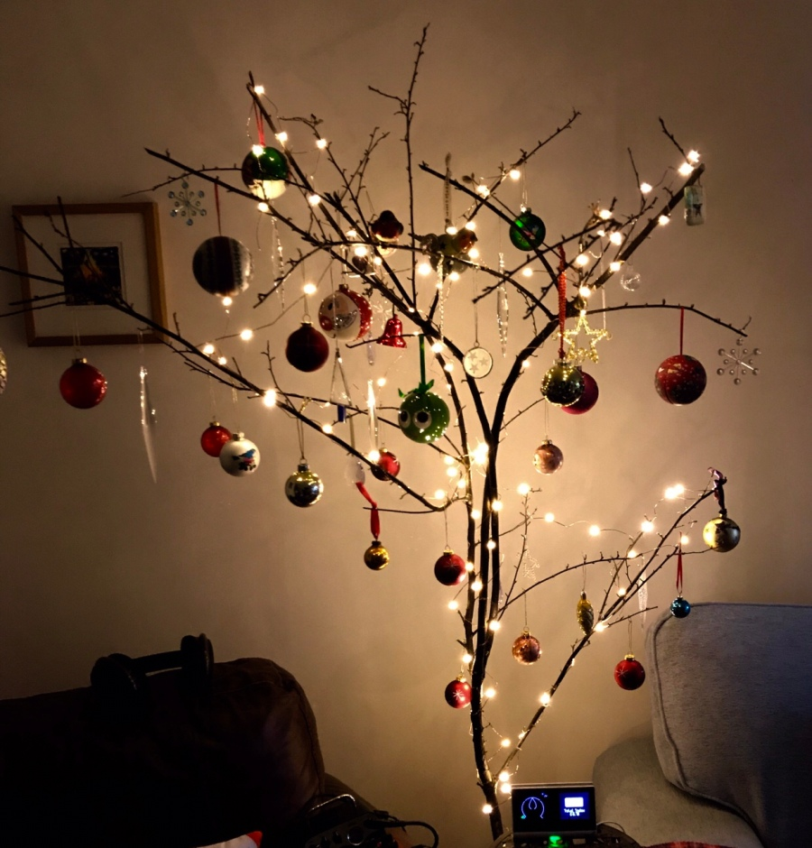 USB energy efficient lights on a modernist tree
